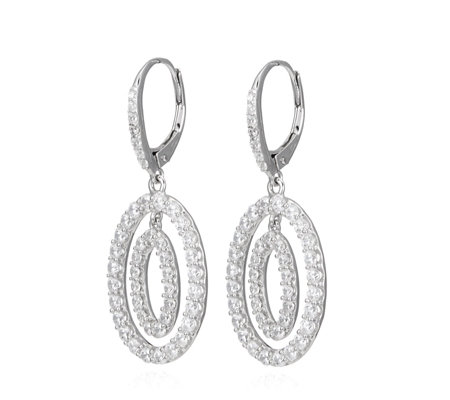 Diamonique 2.2ct tw Double Oval Leverback Earrings Sterling Silver