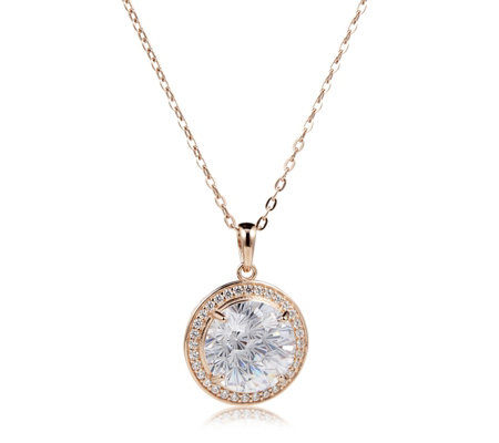 Diamonique 12.5ct tw Firework Cut Pendant & Chain Sterling Silver