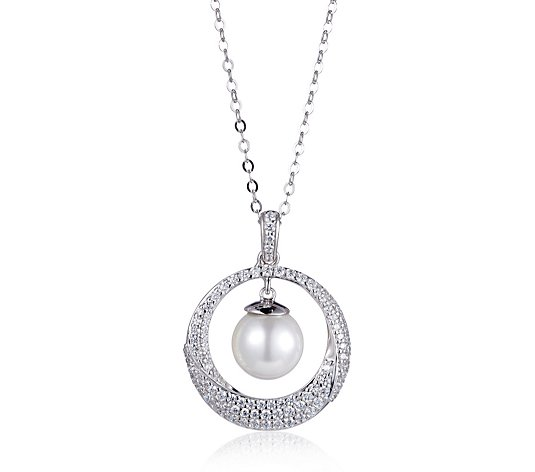 Diamonique 0.8ct tw Vintage Style Circle Pearl Pendant & Chain Sterling Silver
