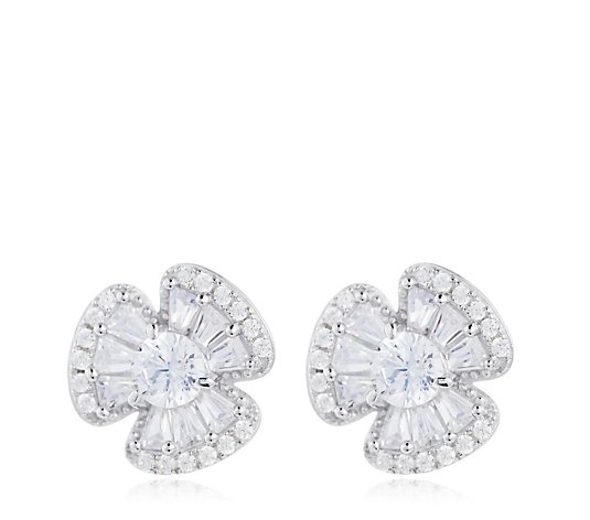 Diamonique 1.2ct tw Flower Stud Earrings Sterling Silver