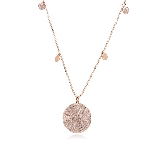 Escape by Melissa Odabash Pave Disc Pendant & Chain Sterling Silver