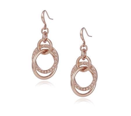 Aurora Swarovski Crystal Linked Hoop Drop Earrings Qvc Uk