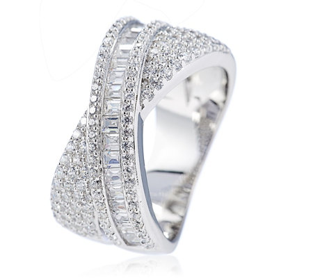 Diamonique 1.4ct tw Baguette Band Ring Sterling Silver