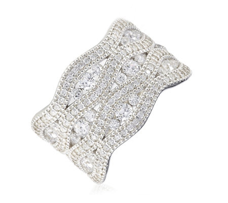 Diamonique 1.5ct tw Pave Statement Band Ring Sterling Silver