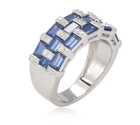 Diamonique 3ct tw Simulated Tanzanite Band Ring Sterling Silver