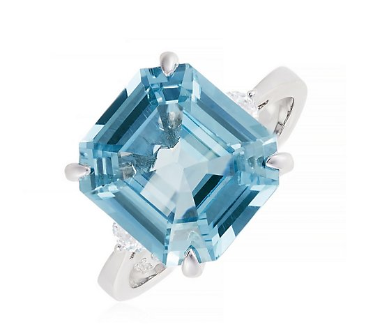 Diamonique 6ct tw Simulated Paraiba Platinum Plated Ring Sterling Silver