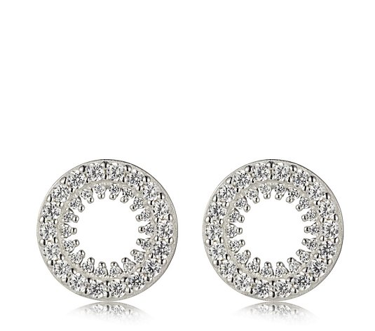 Diamonique 0.9ct tw Circle Stud Earrings Sterling Silver