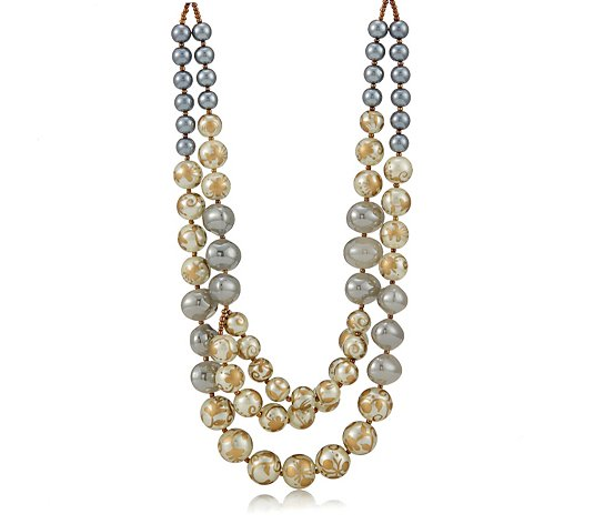 Butler & Wilson Polished Glass 3 Row Necklace