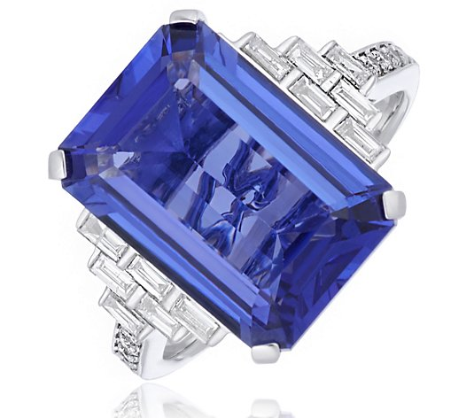 7.00ct AAAA Tanzanite Octogon & 0.24ct Baguette Diamond Ring 14ct Gold