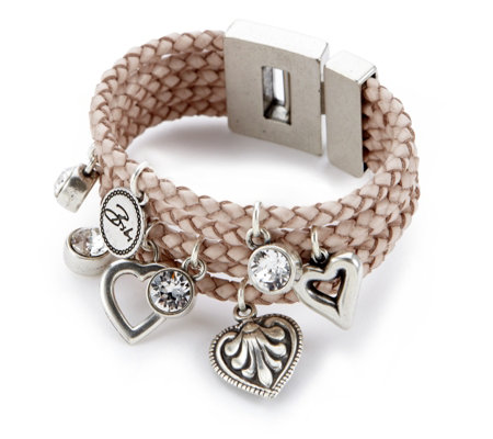 Bibi Bijoux 5 Row Leather Strap Heart & Crystal Charm Bracelet