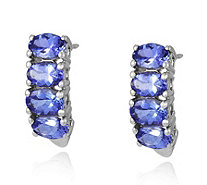 3.6ct AAA Tanzanite Half Hoop Earrings 18ct Gold - 309218
