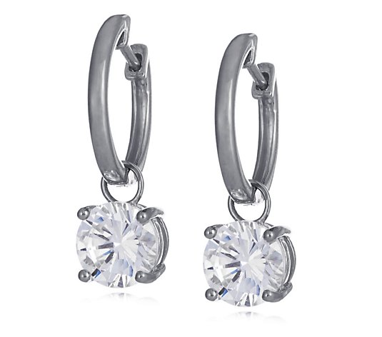 Diamonique 4ct tw Solitaire Drop Hoop Earrings Sterling Silver