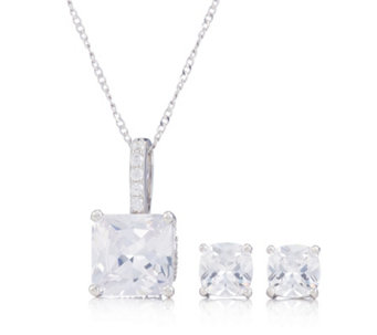 Diamonique 5 5ct Tw Earrings Pendant Chain Set Sterling Silver 338018