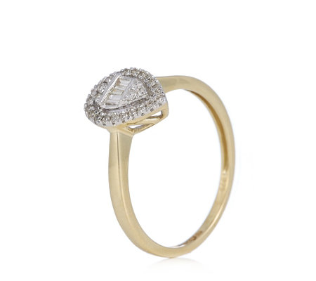 0.25ct Diamond Mixed Cut Pear Halo Ring 9ct Gold