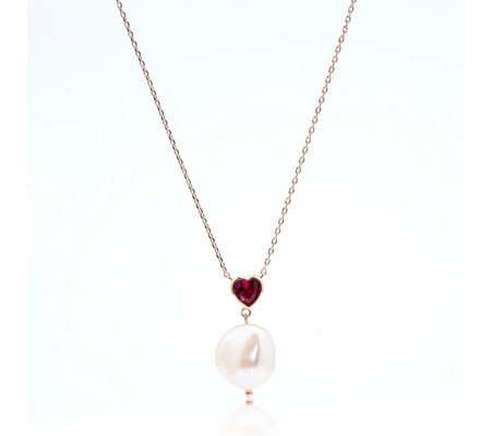 Butler & Wilson Cultured Pearl & Heart 42cm Necklace
