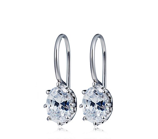 Diamonique 1.5ct tw Oval Fixed Leverback Earrings Sterling Silver