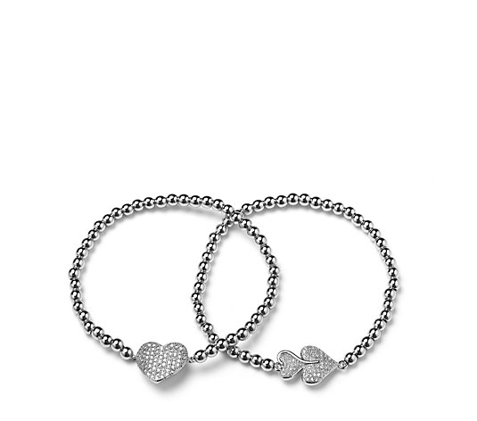 Frank Usher Set of 2 Pave Heart Bracelets