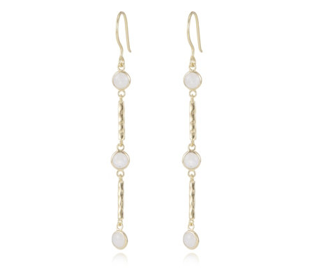 Kelly Hoppen Rainbow Moonstone Drop Earrings Sterling Silver