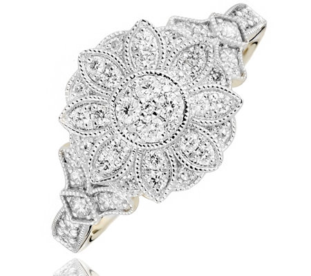 0.38ct Diamond Vintage Flower Estate Collection Ring 9ct Gold