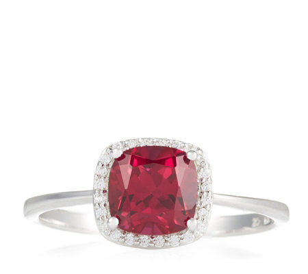 Diamonique 1.8ct tw Simulated Ruby Cushion Cut Ring Sterling Silver