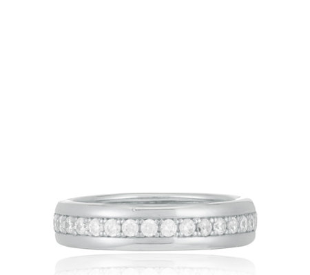 Diamonique 0.6ct tw Wide Eternity Band Ring Sterling Silver