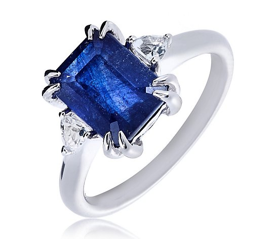 3.00ct Treated Blue Sapphire & White Topaz Octagon Ring Sterling Silver