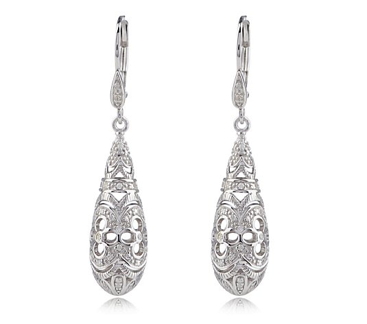 0.20ct Diamond Vintage Style Estate Collection Drop Earrings Sterling Silver