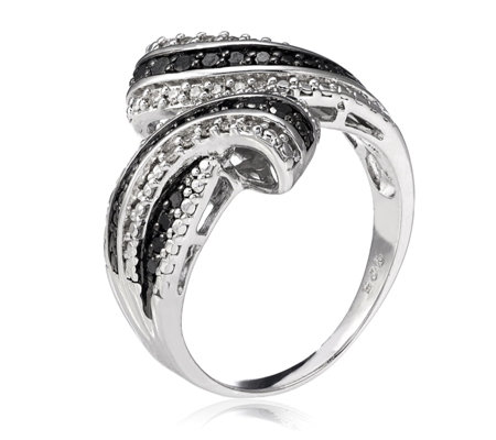 0.35ct Treated Black & White Diamond Ring Sterling Silver
