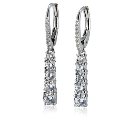 Diamonique 1.4ct tw Drop Leverback Earrings Sterling Silver