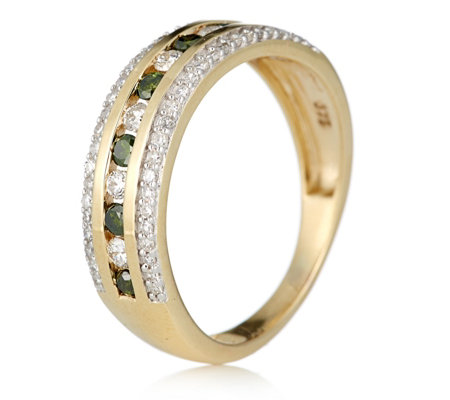 0.23ct Treated Green & 0.41ct White Diamond Band Ring 9ct Gold