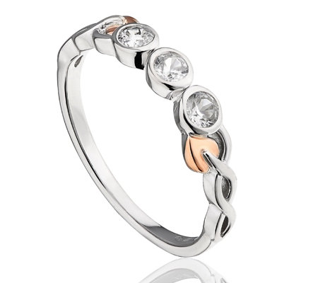 Clogau 9ct Rose Gold & Sterling Silver Trilogy Tree of Life Zircon Ring