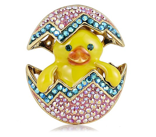Butler & Wilson Crystal Egg with Duck Brooch