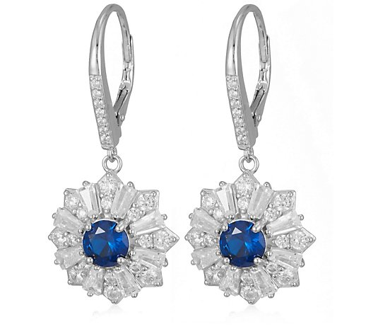 Diamonique 5.94ct tw Vintage Style Leverback Earrings Sterling Silver