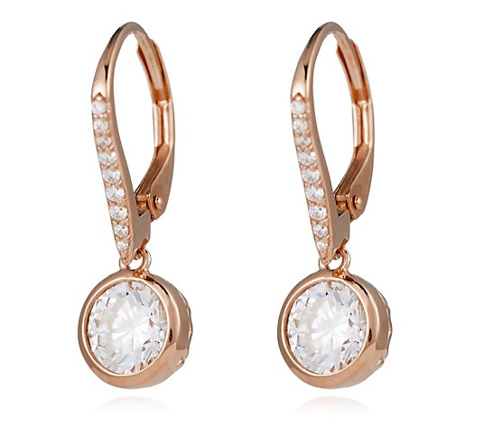 Diamonique 2.1ct tw Bezel Set Leverback Earrings Sterling Silver