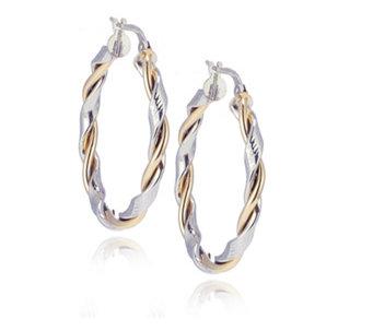 9ct Gold Diamond Cut Twist Creole Hoop Earrings - 336821
