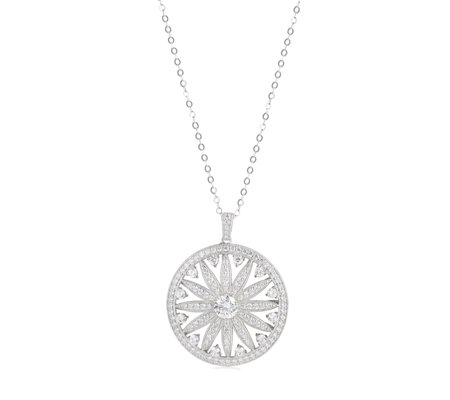 Diamonique 3ct tw Sundial Pendant & 45cm Chain Sterling Silver