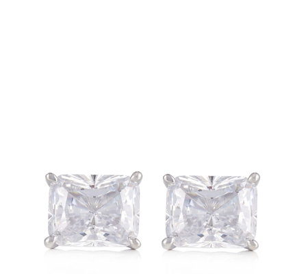 Michelle Mone for Diamonique 8ct tw Radiant Cut Stud Earrings Sterling Silver