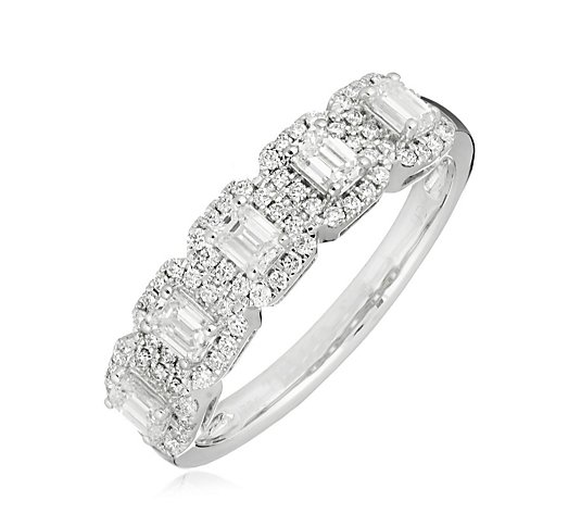 1.00ct H SI2 Diamond Emerald Cut Halo Band Ring 18ct Gold