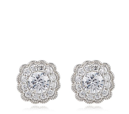 Diamonique 4ct tw Vintage Style Stud Earrings Sterling Silver