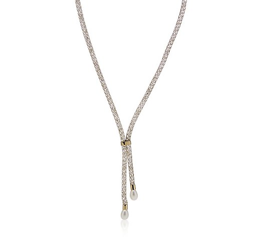 Honora 7-7.5mm Cultured Pearl & Crystal Mesh Lariat Necklace Stainless Steel