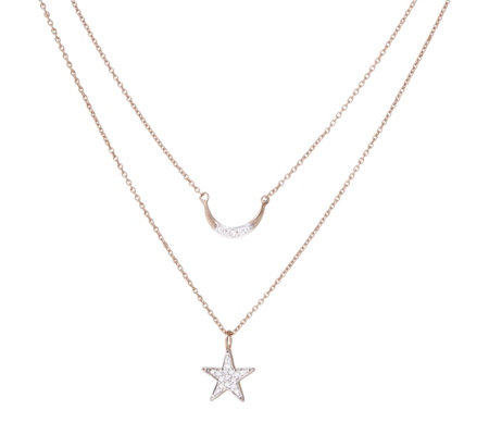 Lisa Snowdon Diamond Star & Moon Set of 2 Pendants Sterling Silver