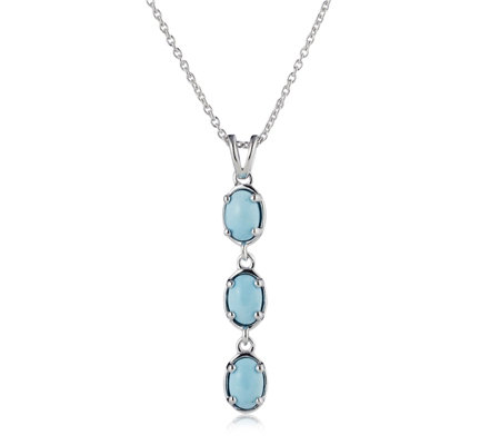 Sleeping Beauty Turquoise Triple Stone 45cm Necklace Sterling Silver