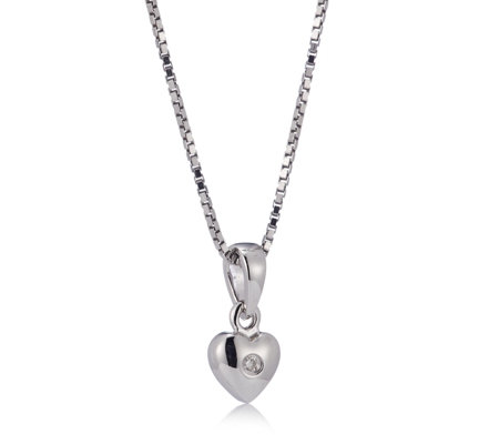 D for Diamond Heart Pendant & 35cm Chain Sterling Silver