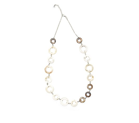 One Button Mother of Pearl Loops 75cm Necklace