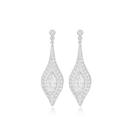 Michelle Mone for Diamonique 6.9ct tw Tear Drop Earrings Sterling Silver