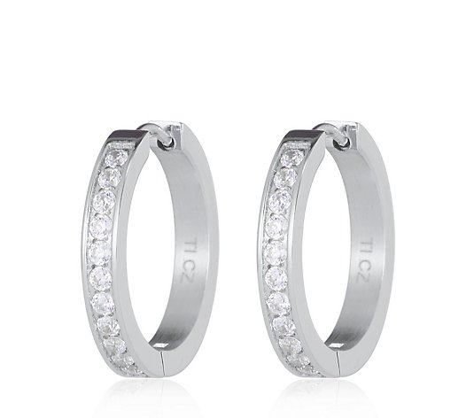 Diamonique 0.4ct tw Hoop Earrings Titanium