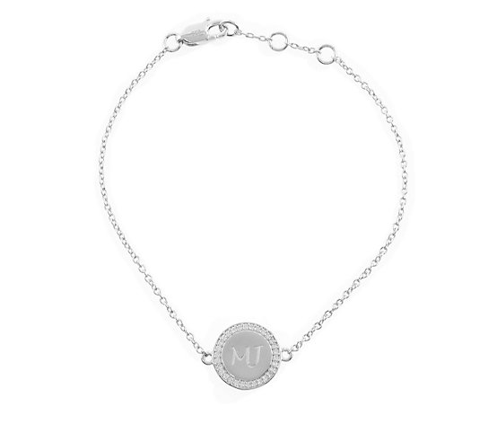 Diamonique Personalised Halo Disc 17cm Bracelet Sterling Silver