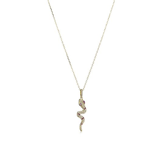 Esacpe by Melissa Odabash Snake Pendant & Chain Sterling Silver