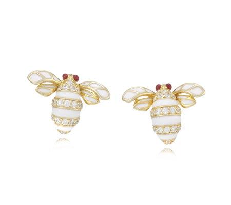 Diamonique 0 5ct Tw Enamel Bee Earrings Sterling Silver