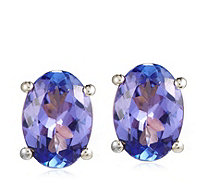 1.00ct AA Tanzanite Oval Solitaire Stud Earrings 18ct Gold - 340523